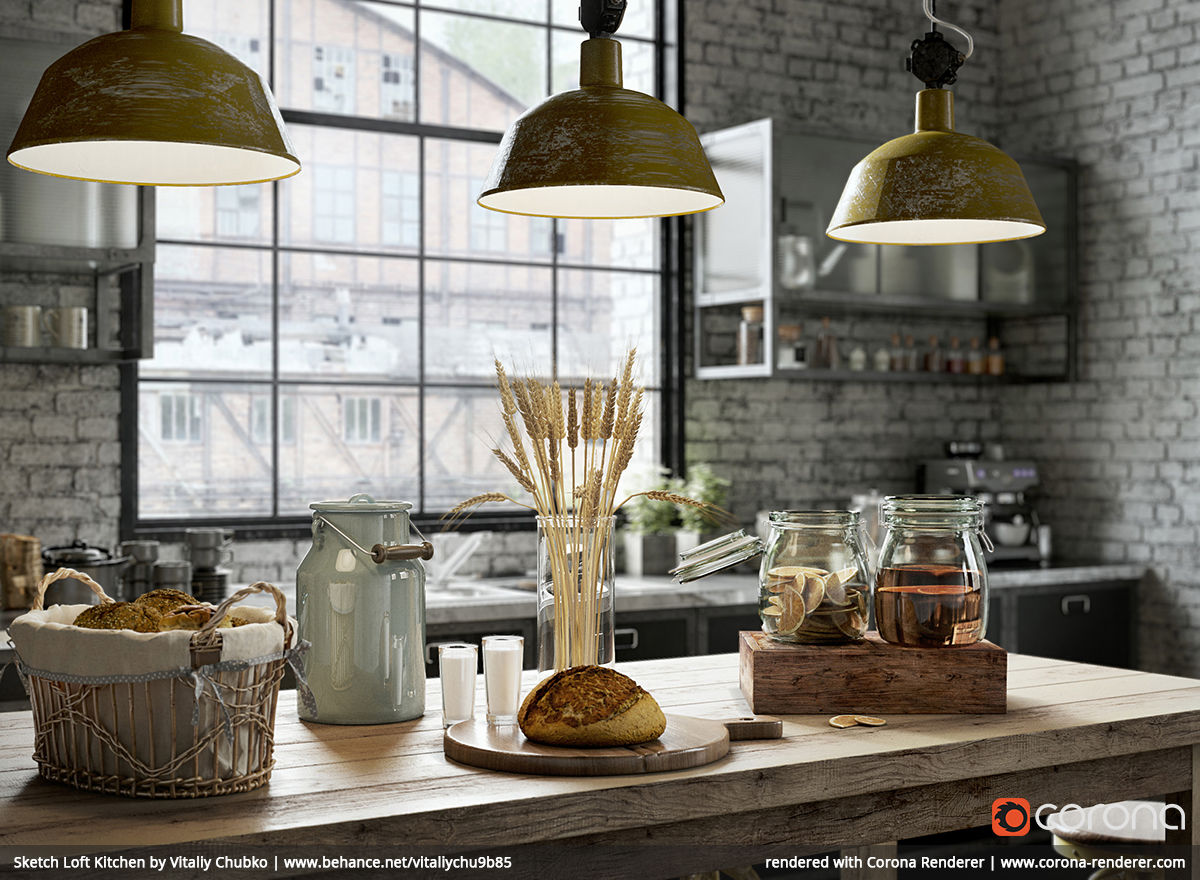 Sketch Loft Kitchen 01 by Vitaliy Chubko